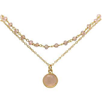 Gemshine Choker Halskette mit Rosenquarzen Edelsteine 925 Silber oder vergoldet