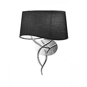 Mantra Ninette Wall Lamp Switched 2 Light E14, Polished Chrome With Black Shade