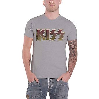 Kiss T Shirt Vintage Classic Band Logo distressed new Official Mens Grey