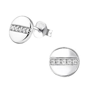Round - 925 Sterling Silver Cubic Zirconia Ear Studs - W30693X