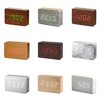 Gingko Brick LED Click Clock Rechargeable Alarm Clock With Sound Activation (Time, Date & Temperature), Rechargeable with USB Adaptor Lead, Various Colours