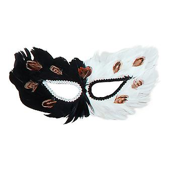 Bristol Novelty Unisex Adults Feather Eye Mask With Lace Trim