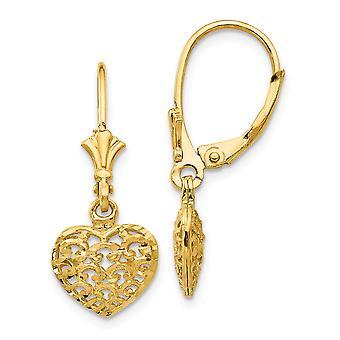 14k Ouro Amarelo Polido 3 d Sparkle Cut Mini para meninos ou meninas Brincos puffed heart leverback