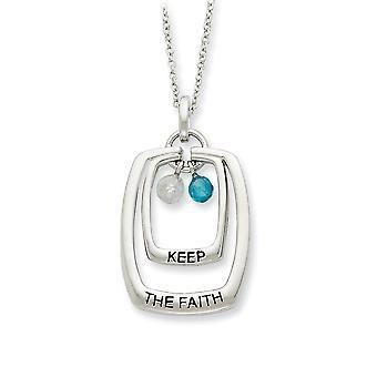 925 Sterling Zilver gepolijst Spring Ring Rhodium vergulde afwerking CZ Kubieke Zirconia Gesimuleerde Diamond Keep The Faith 18inch