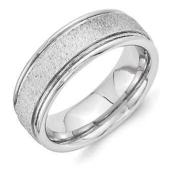 Vitalium Engravable Polished edges Religious Faith Cross Grain Finish Center Rounded Edge 8mm Flat Band Ring Size 10 Jew
