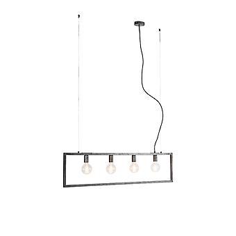 QAZQA Moderne Hängelampe Antik Silber 4-Licht - Simple Cage