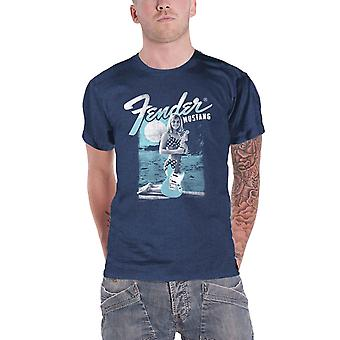 Fender T Shirt Mustang Girl Logo new Official Mens Blue