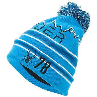 Spyder ICEBOX Herren Strick Bommel Winter Ski Mütze sky blau