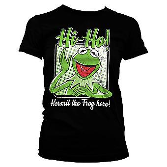 Women's The Muppets Kermit The Frog Here Black T-Shirt