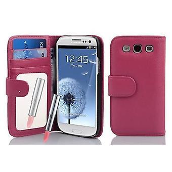 Cadorabo Hülle für Samsung Galaxy S3 / S3 NEO hülle case cover - Handyhülle mit Spiegel und Kartenfach - Case Cover Schutzhülle Etui Tasche Book Klapp Style