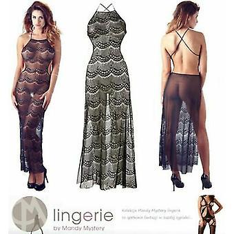 Mandy Mystery Lingerie Black Backless Long Stretch Lace Dress