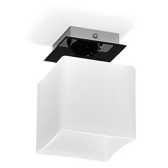 Sollux PIAZZA 1 Light Flush Ceiling Light White, Black SL.0221