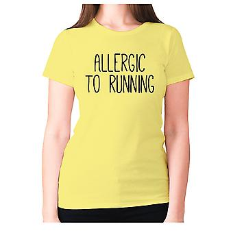 Womens funny gym t-shirt slogan tee ladies workout - allergic to running