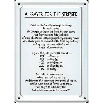 En bön för det stressade metall vykortet / Mini logga
