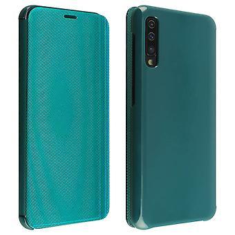 Flip case til Samsung Galaxy A50 gennemskinnelige stiv tynd og lys flap-grøn