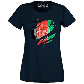 Reality glitch torn afghanistan flag womens t-shirt