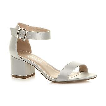 Ajvani womens low mid block heel ankle strap buckle wedding bridesmaid evening party strappy sandals