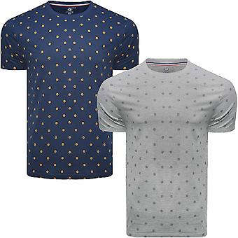 Lambretta miesten AOP rento lyhythihainen Crew Neck puuvilla logo T-paita Top tee