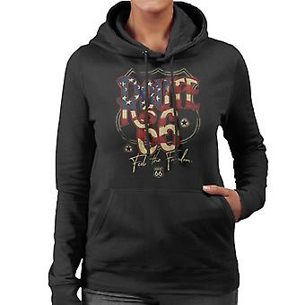 Route 66 US Flag Text Women's Hooded Sweatshirt