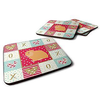 Set of 4 Holland Lop Rabbit Love Foam Coasters Set of 4