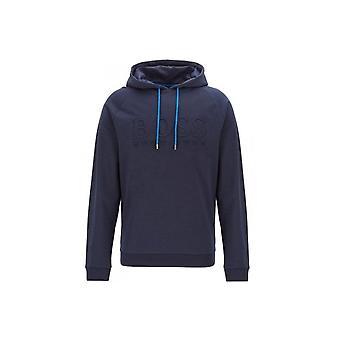 هيقو بوس الترفيه ارتداء هوغو بوس الرجال التراث الأزرق الداكن مقنعالبلوز مع شعار منقوش