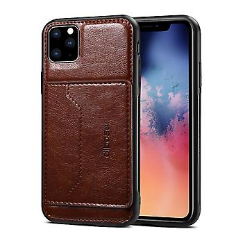 For iPhone 11 Pro Dibase TPU + PC + PU Wild Horse Texture Protective Case Wallet , Coffee