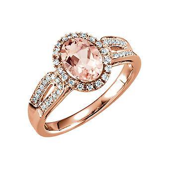14k רוז גולד Morganite ו 0.2 היהלומים Dwt טבעת גודל 6.5 תכשיטים מתנות לנשים