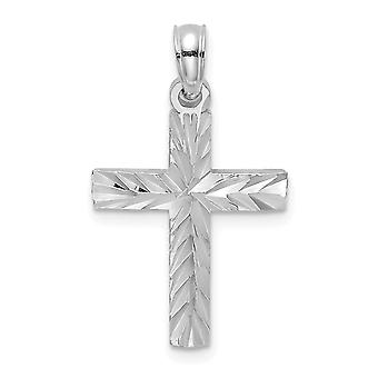 14k White Gold Sparkle Cut Block Cross With Starburst Center Jewelry Gifts for Women - 1.0 Grams