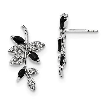 13.75mm 925 Sterling Silver Rhodium plated With Black Simulated Onyx and CZ Leaf Post Earrings Jewelry Gifts for Women