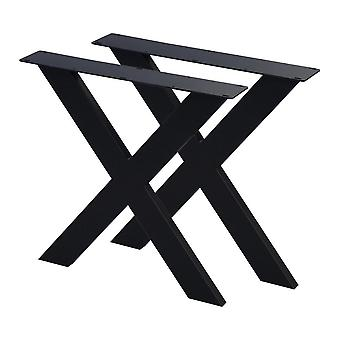 Sæt med sorte X bordben 72 cm (rør 10 x 4)