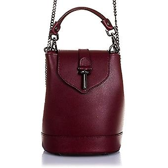 FIRENZE ARTEGIANI. Real casual women's leather backpack. Backpack bag in real pamelato leather. Narrow exlcusive cylinder. MADE IN ITALY. REAL PELLE ITALIANA.19x24x14 5cm. Color: garanin red