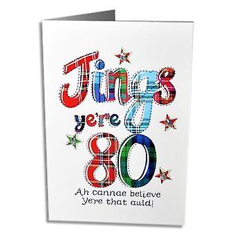 Kirjailtu Originals Jings Yer 80 Skotlannin syntymäpäiväkortti