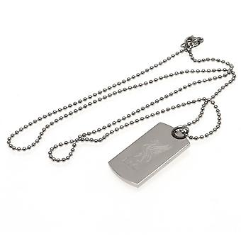 Liverpool FC Engraved Liverbird Dog Tag And Chain