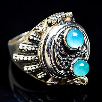 Large Poison Aqua Chalcedony Ring Size 6.5 (925 Sterling Silver)  - Handmade Boho Vintage Jewelry RING3435