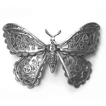 Restyle - steampunk moth - silver pewter colour hair barette