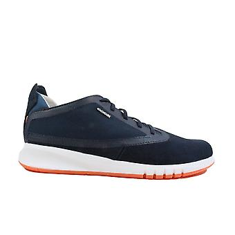 Geox Aerantis U02FA Navy Suede Leather Mens Lace Up Casual Trainers