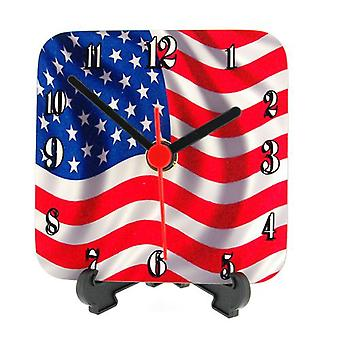 The Olivia Collection American/USA Flag Ripple Effect  Square Quartz Clock