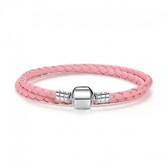 Double Woven Leather Charm Bracelet - 5156