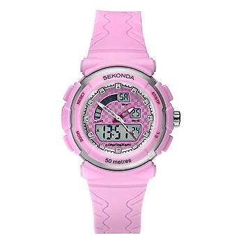 Sekonda Kids Round Pink Digital Dial Pink Rubber Strap Watch 2422.05