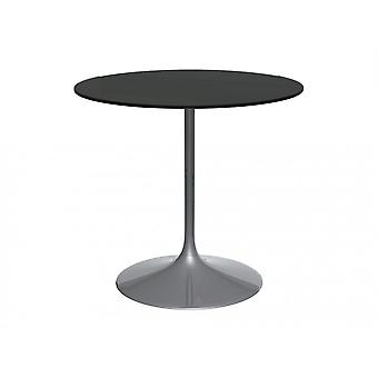 Gillmore Pedestal Medium Dining Table Black Glass And Smoked Chrome