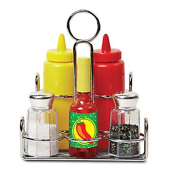 Melissa & Doug Condiments Set (6 Pcs) Play Food, Stainless Steel Caddy