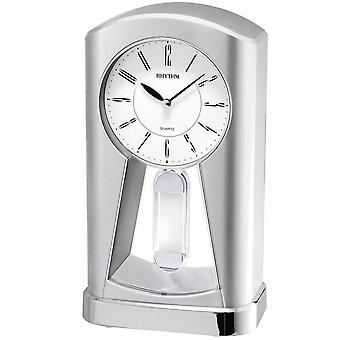 Rytm 7794 Bordsklocka Kvarts analog med pendel svängande pendelsilver