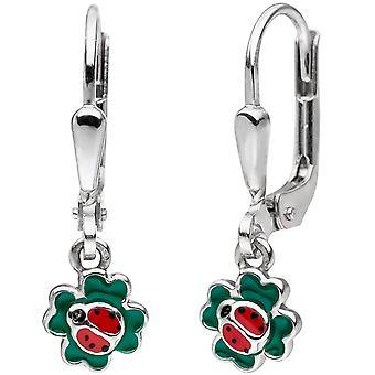 Children earrings Ladybug Shamrock 925 Silver earrings, kids earrings