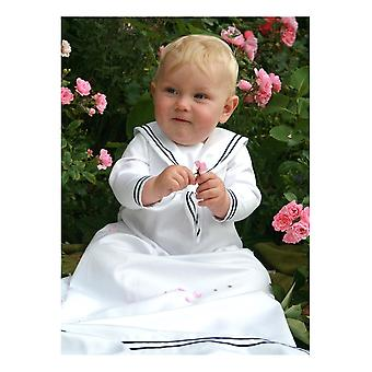 White Christening Gown For Boys. Sailor Dress Model In Cotton. Grace Of Sweden