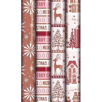 EuroWrap North Pole Metallic Xmas Gift Wrap Rolls (Pack of 36)