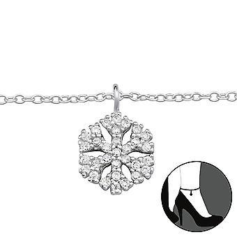 Schneeflocke - 925 Sterling Silber Fußkettchen - W33459x