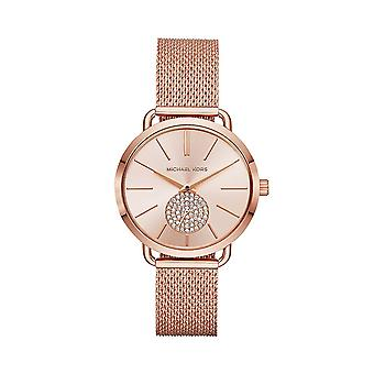 Michal Kors MK3845 Dames Portia Rose Gold Mesh Strap Watch - RoséGoud