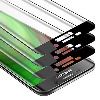 Cadorabo 3x Full Screen Tank Foil for Samsung Galaxy S6 EDGE - Protective Film in TRANSPARENT with BLACK - 3 Pack Tempered Display Protective Glass in 9H Hardness with 3D Touch