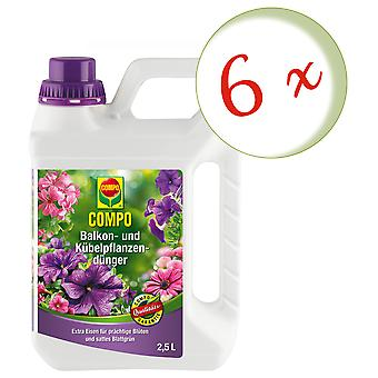 Sparset: 6 x COMPO balcony and potted plant fertilizer, 2.5 litres