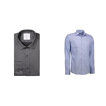 ID Mens Fine Twill Californië Shirt lange mouw Slim Fit